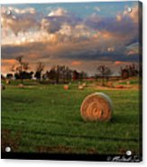 Haybales At Dusk Acrylic Print by Melinda Swinford