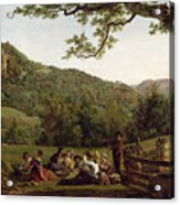 Haymakers Picnicking In A Field Acrylic Print by Jean Louis De Marne