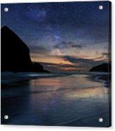 Haystack Rock Under Starry Night Sky Acrylic Print