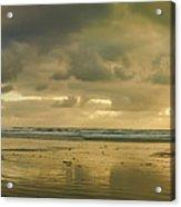 Haystack Sunset Panorama Acrylic Print
