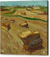 Haystacks In Moravia Acrylic Print