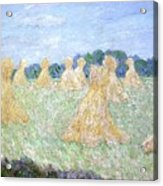 Haystacks The Young Ladies Of Giverny Sun Effect Acrylic Print