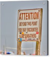 Hdr Sunbather Sign Beach Beaches Ocean Sea Photos Pictures Buy Sell Selling New Photography Pics  Acrylic Print