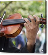 He Plays At The Market Acrylic Print