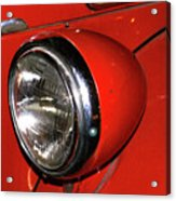 Headlamp On Red Firetruck Acrylic Print