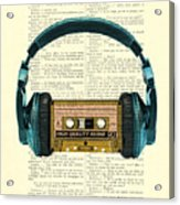 Blue Headphone And Yellow Cassette Collage Print Acrylic Print
