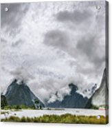 Heads In The Clouds Panorama At Milford Sound Acrylic Print