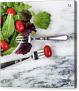 Healthy Organic Salad Flowing Out Of Plate On Natural Marble Tab Acrylic Print
