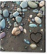 Heart In The Sand Acrylic Print