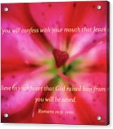 Heart Of A Flower With Bible Verses Acrylic Print