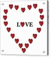 Heart Shapes Forming Heart Around Word 'love' Acrylic Print