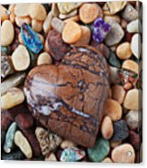 Heart Stone Among River Stones Acrylic Print by Garry Gay