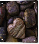 Heart Stone On River Rocks Acrylic Print