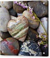 Heart Stone With Wild Flower Acrylic Print