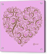 Heart With Pink Flowers And Swirls Acrylic Print