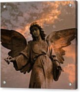 Heavenly Spiritual Angel Wings Sunset Sky  Acrylic Print by Kathy Fornal