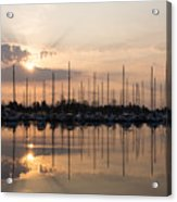 Heavenly Sunrays - Peaches-and-cream Sunrise With Boats Acrylic Print