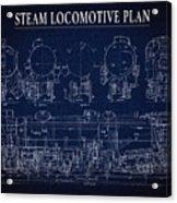 Heavy Steam Locomotive Blueprint Acrylic Print