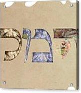 Hebrew Calligraphy- Carmela Acrylic Print