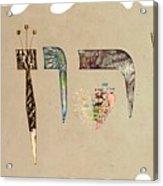 Hebrew Calligraphy- Yaron Acrylic Print