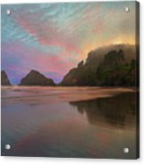 Heceta Head Lighthouse Foggy Sunset Acrylic Print