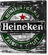 Heineken Beer Wood Sign 1f Acrylic Print