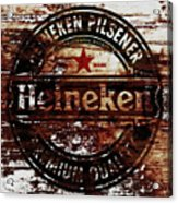 Heineken Beer Wood Sign 1j Acrylic Print