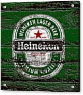 Heineken Beer Wood Sign 2 Acrylic Print