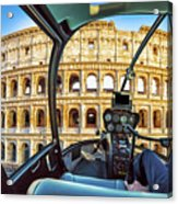 Helicopter On Colosseo Acrylic Print