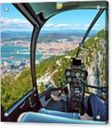 Helicopter On Gibraltar Rock Acrylic Print
