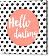 Hello Darling Coral And Dots Acrylic Print