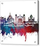 Helsinki Skyline City Blue Acrylic Print