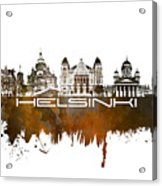 Helsinki Skyline City Brown Acrylic Print