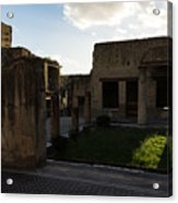 Herculaneum Ruins - Mosaic Tile Streets And Sun Splashes Acrylic Print