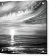 Here It Goes - Square Sunset In Black And White Acrylic Print