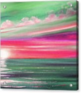 Here It Goes In Teal And Magenta Panoramic Sunset Acrylic Print