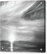 Here It Goes -vertical Sunset In Black And White Acrylic Print