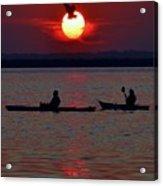 Heron And Kayakers Sunset Acrylic Print