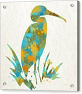 Heron Watercolor Art Acrylic Print