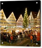 Herrenberg Christmas Market At Night Acrylic Print by Greg Dale