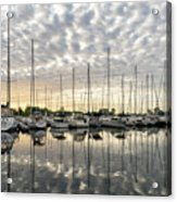 Herringbone Sky Patterns With Yachts And Boats  Acrylic Print