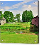 Herr's Grist Mill And Covered Bridge Acrylic Print