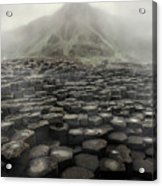 Hexagon Stones And A Mountain In The Morning Fog Acrylic Print