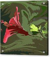 Hibiscus Dark And Light Photopainting 1 Acrylic Print