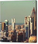 High-angle View Of Dubai's Towers At Sunset.  Acrylic Print