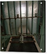 High Risk Solitary Confinement Cell In Prison Through Bars Acrylic Print