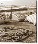 High Tide In Sennen Cove Sepia Acrylic Print