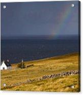 Highland Cottage With Rainbow Applecross Acrylic Print