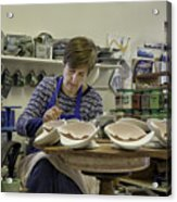 Highland Stoneware Artist At Work Acrylic Print
