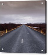 Highway Straight Road Leading To The Snowy Mountains Acrylic Print